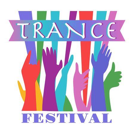 Music festivals emblem, invitation for event, party, concert. Trance music festival badge, label, logo, sign, symbol. Vector illustration. Design concept image.