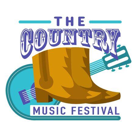 Music festivals emblem, invitation for event, party, concert. Country music festival badge, label, logo, sign, symbol. Vector illustration. Design concept image. Illustration