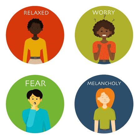 Men or women expressing various emotions: sadness, anger, fear, worry, relax, crying, happiness, victory, tiredness, melancholy, gladness, amazement. Image of different full-length people emotions