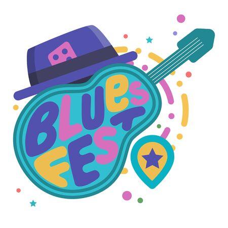 Music festivals emblem, invitation for event, party, concert. Blues music festival badge, label, logo, sign, symbol. Vector illustration. Design concept image.