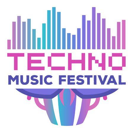 Music festivals emblem, invitation for event, party, concert. Techno music festival badge, label, logo, sign, symbol. Vector illustration. Design concept image.