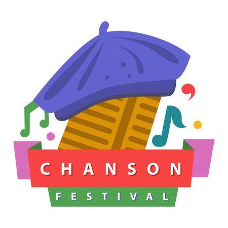 Music festivals emblem, invitation for event, party, concert. Chanson music festival badge, label, logo, sign, symbol. Vector illustration. Design concept image. Illustration