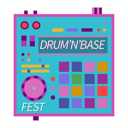 Music festivals emblem, invitation for event, party, concert. Drum n bass music festival badge, label, logo, sign, symbol. Vector illustration. Design concept image.