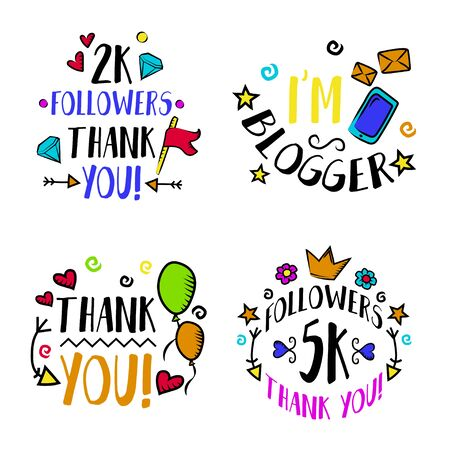 Vlog and blog design concept set, blogging badges vector Illustrations. Screen saver with text for blog: Thank you, I am blogger, 5k followers, 2k followers. Visualization design for blog. Vector set