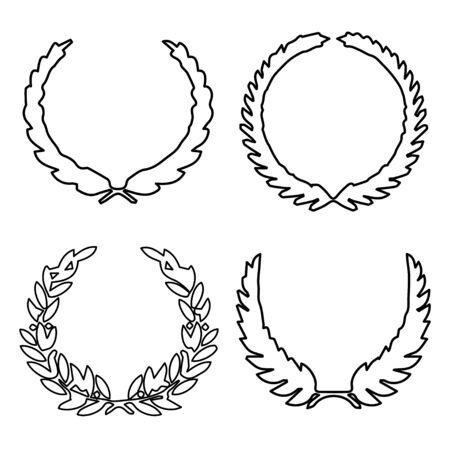 Collection of different silhouette circular laurel foliate, wheat, oak wreaths depicting an award, achievement, heraldry, nobility. Vector illustration. Hand drawing christmas elegant Laurel wreath. Illusztráció