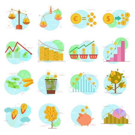 Outline icons set of flat design elements finance objects: banking services, currency milestones, financial items, money symbols, currency exchange process. Vector pictogram collection design concept.