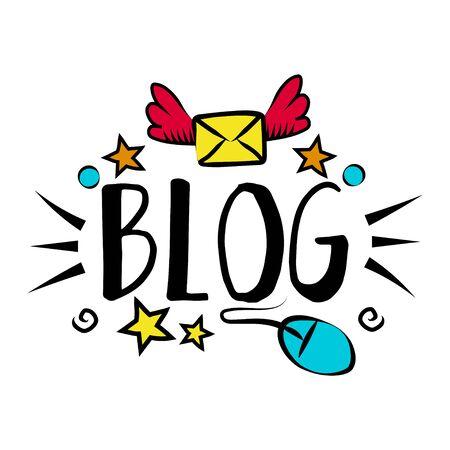 Vlog and blog design concept set, blogging badges vector Illustrations. Screen saver with text for blog: welcome to my blog. Visualization design for blog. Vector set