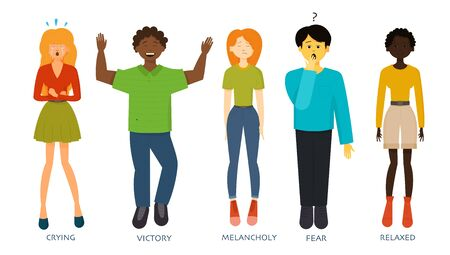 Men or women expressing various emotions: sadness, anger, fear, worry, relax, crying, happiness, victory, tiredness, melancholy, gladness, amazement. Image of different full-length people emotions Illusztráció