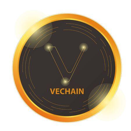 Crypto currency  gold, silver, bronze coin: Vechain, Bitcoin. Electronic currency. Digital coin, icon Illusztráció