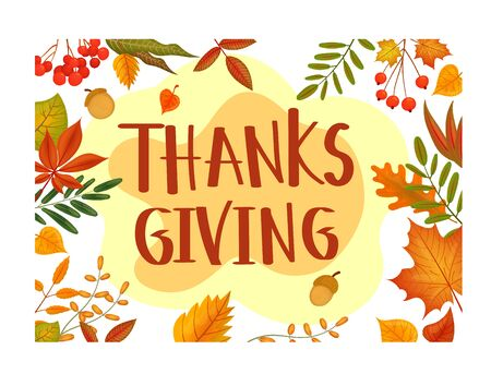 Gift card Thanksgiving day in cartoon style. Autumn family holiday tradition. Thanksgiving day poster, banner, greeting card design concept. Autumn harvest Holiday vector image.