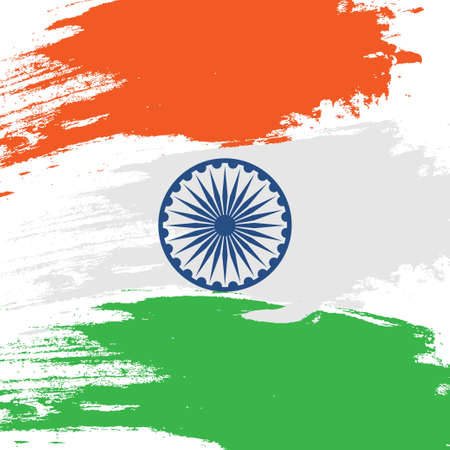 Indian tricolor flag. India map. National symbol and sign. Vector illustration. Background for poster, banner, gift card, greeting card. Design for Independence Republic Day