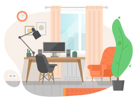 Workplace room, modern Interior, cabinet. Vector illustration in flat cartoon style. Workplace with desk, computer, plant, picture. Home office, cozy working space cabinet living room interior concept