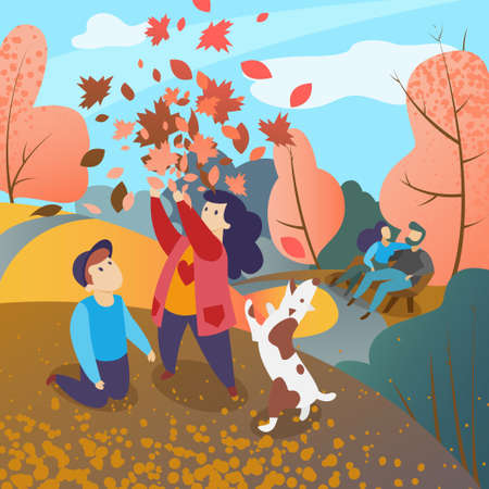 Family in autumn park, Vector illustration of happy family in autumn on walk around the city, mom, dad, son, daughter with dog relax and have fun in park. Kids playing with autumn leaves. Landscape