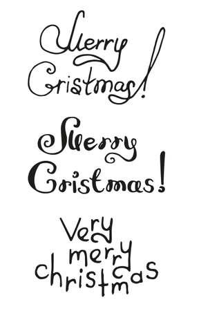 Vector illustration of black lettering merry christmas isolated on white. Hand drawn lettering for invitation, decoration, seasonal design.
