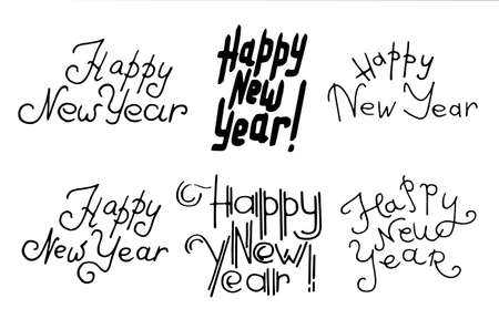 Vector illustration of lettering Happy New Year on white background. Hand drawn lettering for invitation, seasonal design.