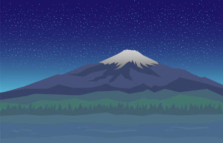 Fujiyama snowy peak of the mountain in night. Vector illustration view of fuji mountain in Japanese. Landscape with Fuji view on tourist attraction in Tokyo.