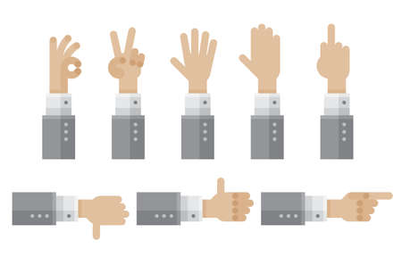 Hands in different poses collection icon. Big set in flat style hands in different gestures. Set emotions, signs. Gesture arm: stop, palm, thumbs up, finger pointer, ok, like. Vector Isolated on white