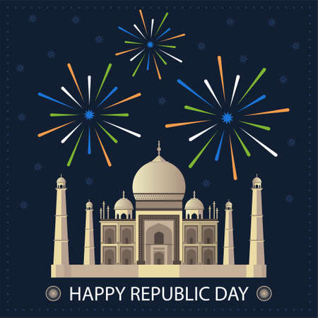 Happy Republic Day 26 January gift card. Taj Mahal Indian National sight on greeting card. Traditional Indian holiday. Vector illustration background for poster, banner, postcard. Independence Day Illusztráció
