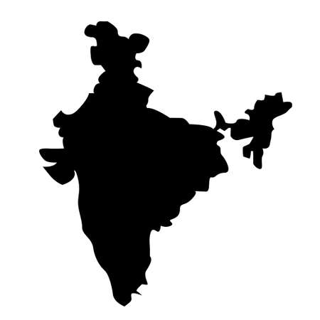 Black silhouette of Indian country map. India map. National symbol and sign. Vector illustration. Design for Independence Republic Day