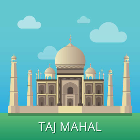 Taj Mahal Indian National sight. Traditional Indian architecture. Taj Mahal design concept for Independence Republic Day