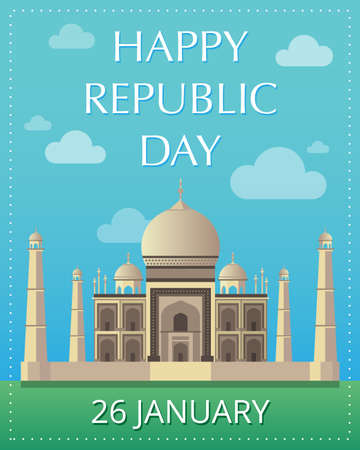 Happy Republic Day 26 January gift card. Taj Mahal Indian National sight on greeting card. Traditional Indian holiday.  Independence Day