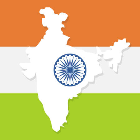 Indian tricolor flag. India map. National symbol and sign. Tricolor badge and logo. Vector illustration. Background for poster, banner, gift card, greeting card. Design for Independence Republic Day Illusztráció