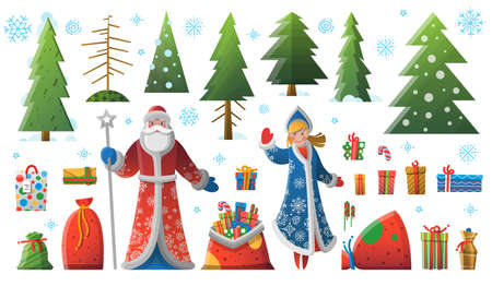 New Year Christmas elements, Father Frost Snow Maiden