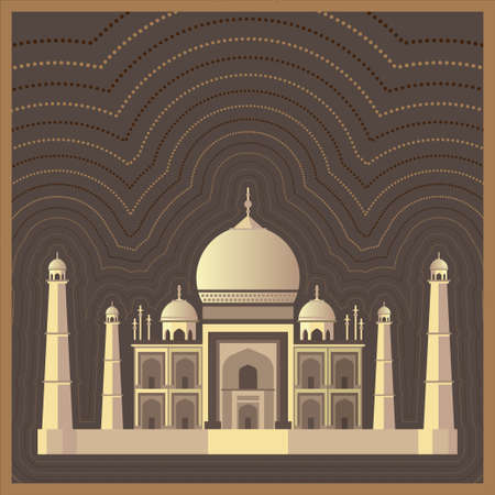 Taj Mahal Indian National sight. Traditional Indian architecture. Vector illustration background for poster, banner, gift card, greeting card. Taj Mahal design concept for Independence Republic Day