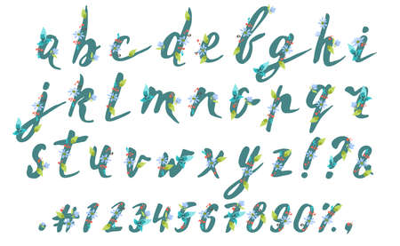 Hand drawn spring floral brush alphabet on white