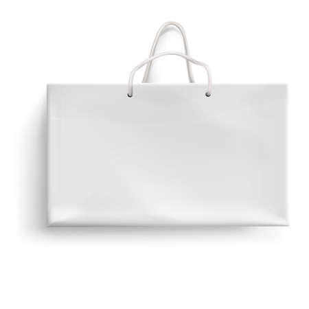 Paper shopping package isolated on white background