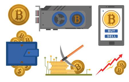 Bitcoin icons set flat style. Digital currency Illusztráció