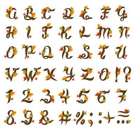 Hand drawn autumn floral brush alphabet on white