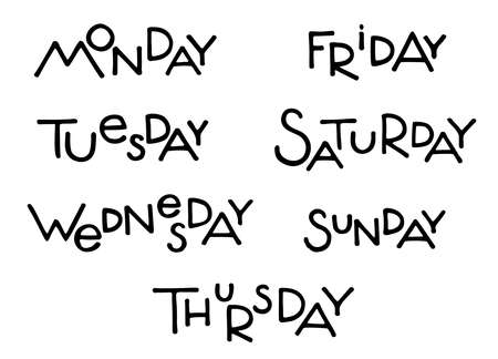 Days of week list isolated on white. Hand drawn modern lettering