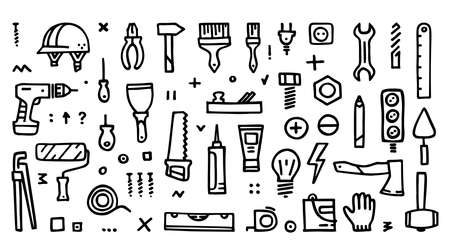 Construction icons vector collection, Building doodle icons Illusztráció