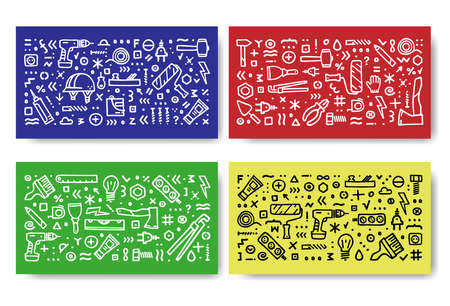 Construction icons vector banner. Building doodle icons