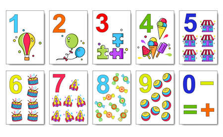 Mathematics cards for children play. Kids play cards