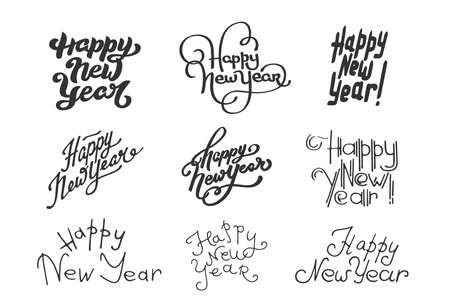 English lettering Happy New Year phrase on white background