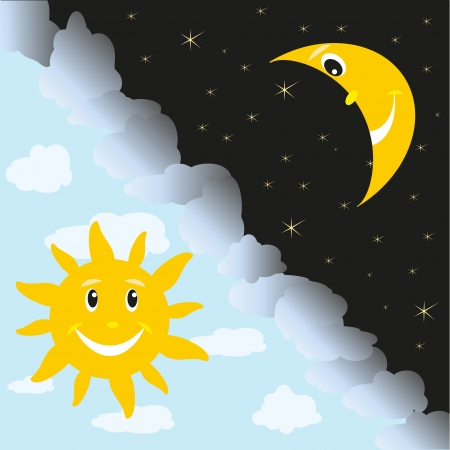 the sun and the moon, day and night Stock Vector - 15776797