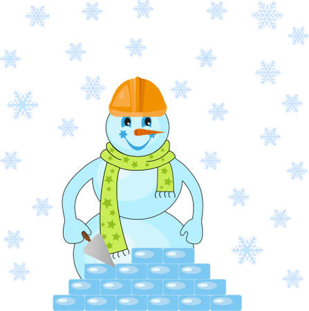 Snowman puts the ice floes Stock Vector - 16082124