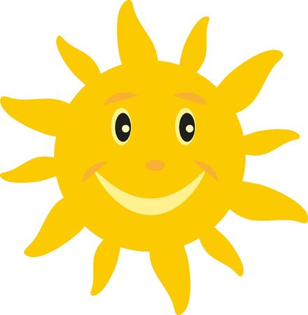 welcom: the sun with a smile on white background