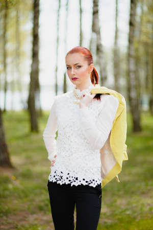 white blouse: Beautiful girl in white blouse outdoor