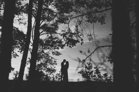 blackwhite: Black-white silhouettes of man and woman