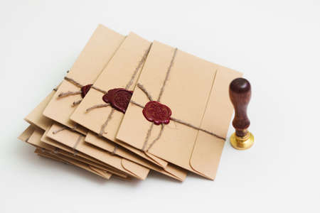sealing wax: Pack of letters with old style stamp for sealing wax Stock Photo