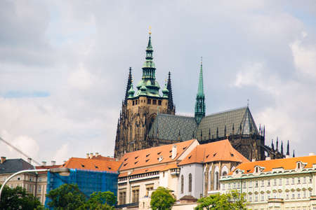 St. Vitus Cathedral in Prague shot from aside Stock Photo