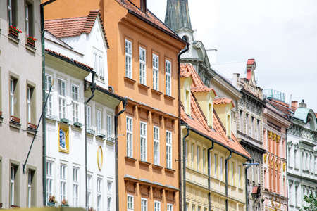 Colorful houses along the street, pattern, Prague, old fashined houses