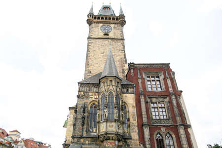 Catholic cathedral with big clock in Prague Czech Republic Stock Photo