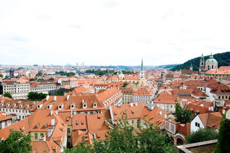Red roofs of the city Prague shot from the high point