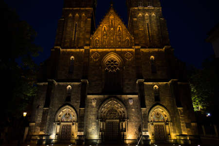 Basilica of St Peter and St Paul in Prague, close night view