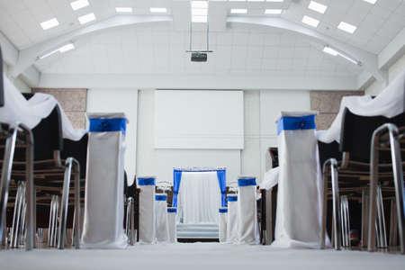Wedding decoration in a contemporary baptist church