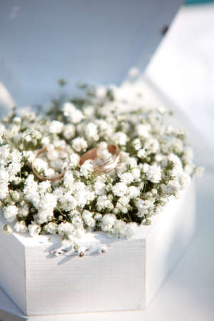 Wedding golden rings in the white wooden box with flowers